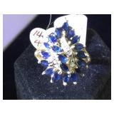14k GOLD, 1/4ct Diamond & 3ct Sapphire ring, size