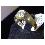 14k GOLD & Diamond ting, size 8.5,  6.1g