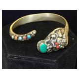Vintage Chinese Dragon bracelet w/ gemstones