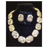 Sterling backed carved bone earring & necklace