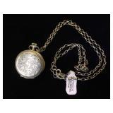 Lady Ann Sterling pocket watch w/ chain,