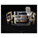 Sterling  wide-link bracelet, 25.5g
