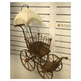 Decorative antique style double baby carriage,