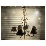 Handing metal 6 arm chandelier w/ shades