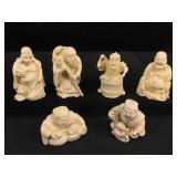 6 resin Asian netsukes