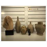 Sculpture, carved stone cat, metal biscuit jar &