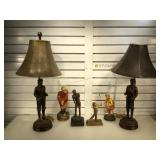 Golfing lamps, decanter & statues