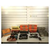 Vintage Lionel train engine, train cars, track &