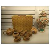 Asian tea set w/ makers mark & hand painted Asian