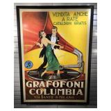 Large Spanish Grafofoni Columbia poster framed to