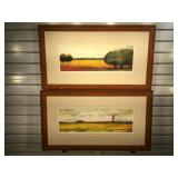 2 signed & numbered lithographs, framed & double