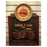Wood Indian motorcycle plaque w/ clock, 16 x 23