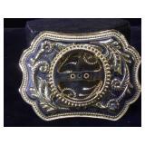 Western style metal coin holder belt buckle