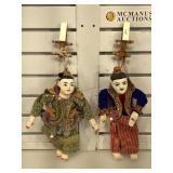 2 hun lakhon lek Thai puppets