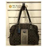 Coach canvas & patten leather monogram handbag,