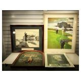 Pencil signed & numbered golf lithograph framed