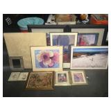 12 framed wall art prints, largest measures 42 x
