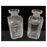 Gorham crystal Vodka & Scotch decanters w/ metal