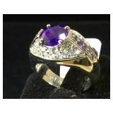 Sterling ring w/ clear & blue gemstones, size 8