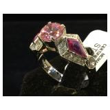 Sterling ring w/ pink & clear gemstones, size 9