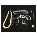 Assortment of fashion jewelry, necklaces, &