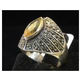Sterling Marcasite & yellow gemstone ring, size 9
