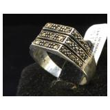 Sterling & Marcasite ring, size 8.5