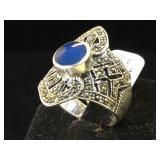 Sterling. marcasite & blue gemstone ring, size 9