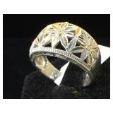 Sterling flower ring, size 10