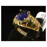 Sterling & blue gemstone ring, size 9