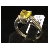 Sterling & yellow gemstone heart ring, size 9