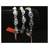 3- Stainless steel & glass bead bracelets by