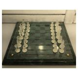 Solid marble based glass chess set - heavy -