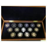 15- Silver quarters, 1950-1964, w/ coin chest