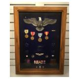 Shadowboxed collection of Air Force military