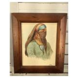 Antique framed watercolor on paper - signed