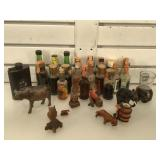Lot of vintage mini liquor bottles and more -