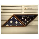 Pair of memorial flag cases - 1 with flag