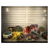 Kids toys including die-cast car, tweety plushes,