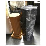 Pair of wood display pedestals - 29 and 36 in