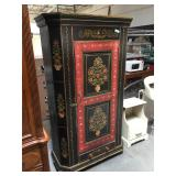 Vintage-style armoire/cabinet folk painted - 6.5