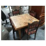 Antique square Belgian dining table with 4 chairs