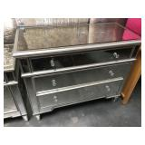 3 drawer mirrored dresser with glass hardware