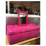 Pink tufted storage ottoman and mirror