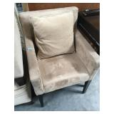 Upholstered microsuede armchair with pillow