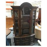 7 foot tall vintage wood and glass curio cabinet