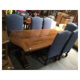 Vintage wood dining table with 6 chairs
