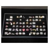 61 costume jewelry rings, all size 8, comes w/