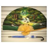 Hand painted Asian fan, 40 inches across when