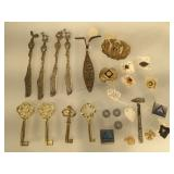 Vintage pins, ornate butter knives, Boy scout